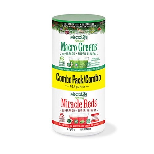 Natural Combo Red - MacroLife Naturals Superfood Macro Greens and Miracle Reds, Combo Pack - 2 Ounces