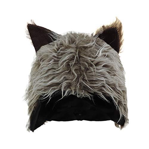 Novelty Furry Wolf Ear Hat Grey, ()