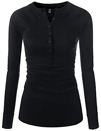NEARKIN Womens Fitted Tee Henley Neck Long Sleeve Cotton Tshirts Black US XXS(Tag Size XS)