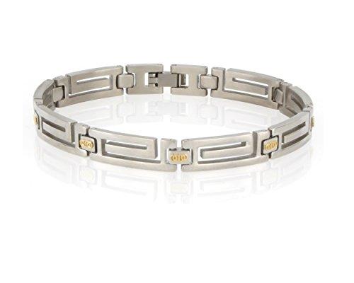 Arrow Jewelry Stainless Steel Greek Key Bracelet Solid 14K Gucci/Mariner Link Gold Bar Polished finish