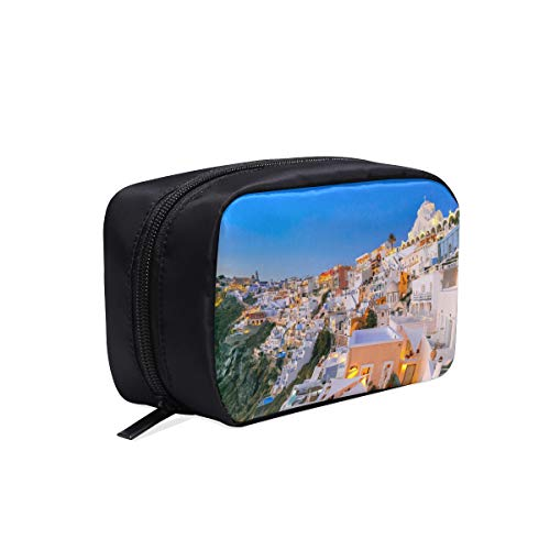 (Impressive Evening View Of Santorini Portable Travel Makeup Cosmetic Bags Organizer Multifunction Case Small Toiletry Bags For Women And Men Brushes Case)