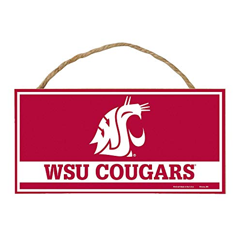 Bek Brands College and University Mascot Wood Sign with Rope Handle, 5 x 10 in (Washington State Cougars)
