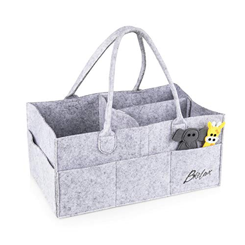 Baby Diaper Storage X-Large Gray Caddy Organizer: Changing Table and Nursery Bag