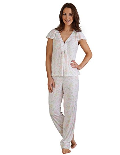 Slenderella kurzärmeliges Pyjama Set und blumiger Jersey Cap in Pink PJ03142