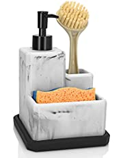 Soap Dispenser with Sponge Holder and Brush Holder,Marble Liquid Soap Pump Dispenser and Sponge Scrubber Caddy 3 in 1 for Kitchen Sink and Bathroom Counter Organizer Removable Tray,White