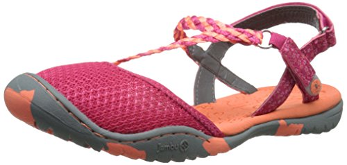 Jambu KD Azalea Girl's Outdoor Closed Toe Sandal, Fuchsia/Coral - 4 M US Big Kid
