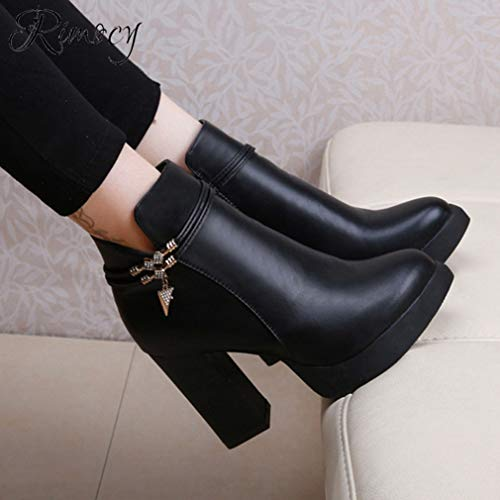 Amazon.com | T-JULY Ladies Winter Boots Sexy Super High Heels Botines Mujer Ankle Boots Solid Black PU Leather Platform Shoes | Ankle & Bootie
