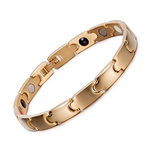 - Starista Jewelry Titanium Magnetic Therapy Link Bracelet Negative Ion Germanium Power Health Wrist Band (Unisex 4 Element Gold)