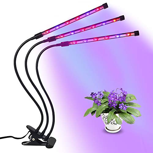 Grow Light,The Cycle Timing Plant Grow Light for Indoor Plants,Three Head Gooseneck Timing 36W,18 LED Bulbs Timing Plant Grow Lamp with Red and Blue Spectrum,8 Dimmable Levels,4/8/12 H Timer by VTAU