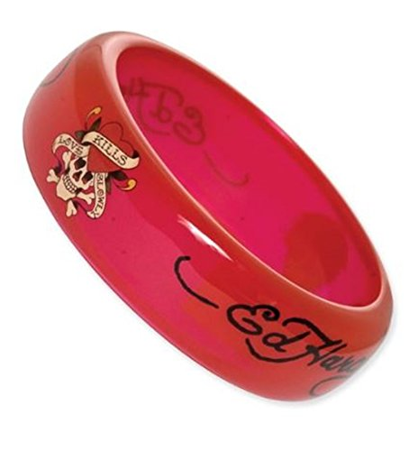 ED HARDY BANGLE BRACELET LOVE KILLS SLOWLY RED EHF144 [Jewelry] ()
