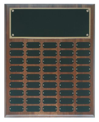 Genuine Walnut Perpetual Plaque - 45 Plate Perpetual Plaque 16