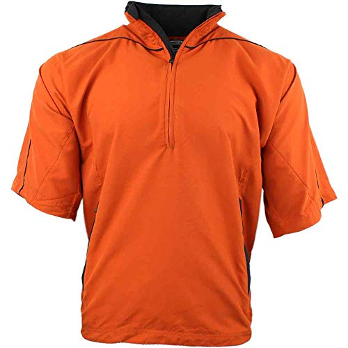 (PAGE & TUTTLE Mens Peached Short Sleeve Windshirt Golf Athletic Outerwear Windbreaker Orange M)