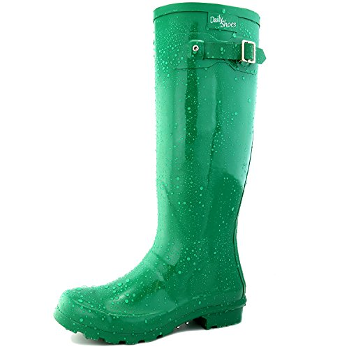 DailyShoes Women's Knee High Round Toe Rain Boots Green