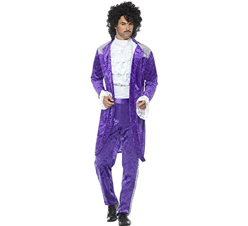 Smiffys Men's 80s Musician Costume, Purple, Large -