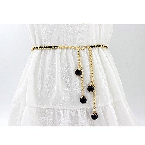 Leather Adjustable Women's Buckle Black Weave B Belts Metal PU Tassel Dress Skinny with Waist Round qEpExFw5