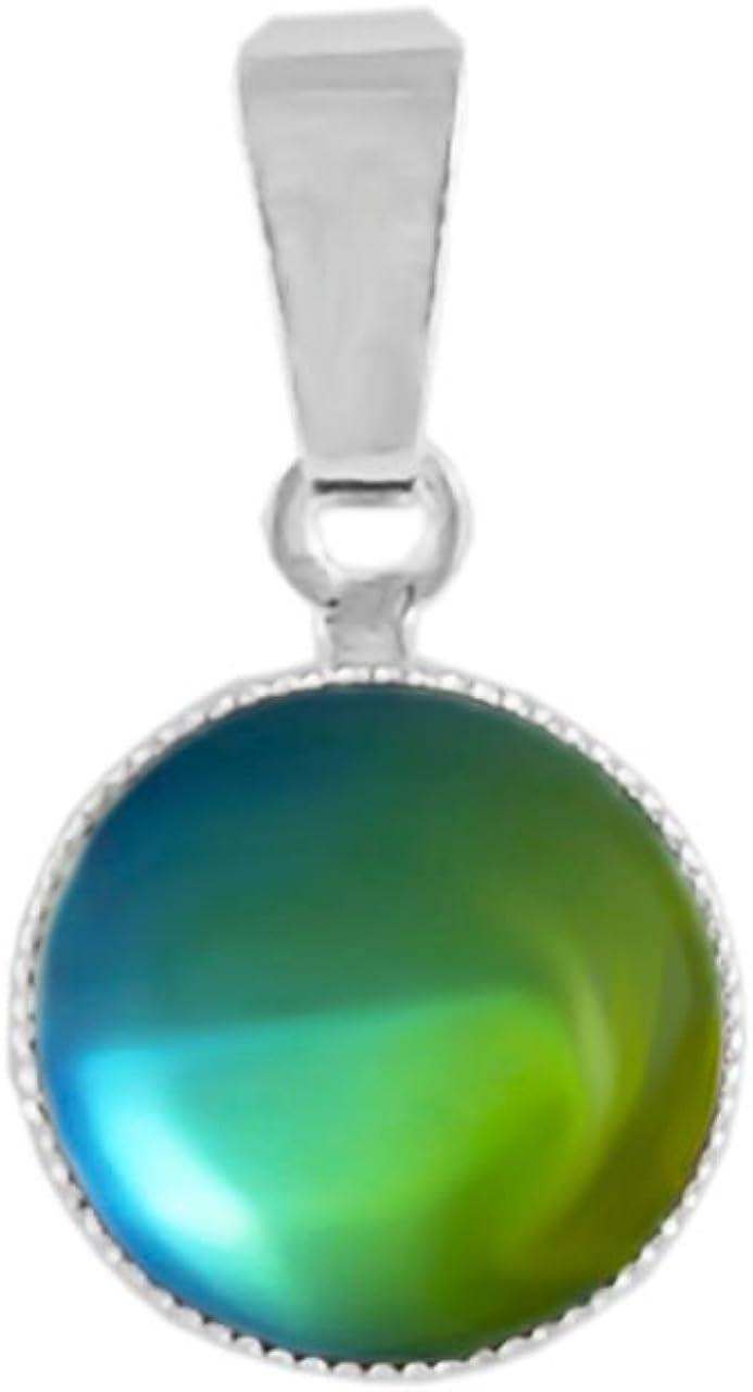 Plata 925 Chapado en Ronda Minimalista Colgante de Collar de Cristal de 10mm de Color Verde Oscuro Dicroico Vitrail Arco Iris de Cristal checo de Piedra Hechos a Mano BohemStyle