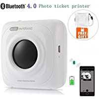 Mini Bluetooth Printer - Wireless Paper Photo Printer Portable Instant Mobile Printer for iPhone/iPad/Mac/Android Devices (Printer with Crystal Clear Case)