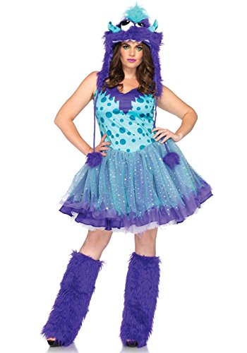Adult Furry Costumes (Leg Avenue Women's Plus-Size 2 Piece Polka Dotty Monster Costume, Aqua/Purple, X-Large/XX-Large)