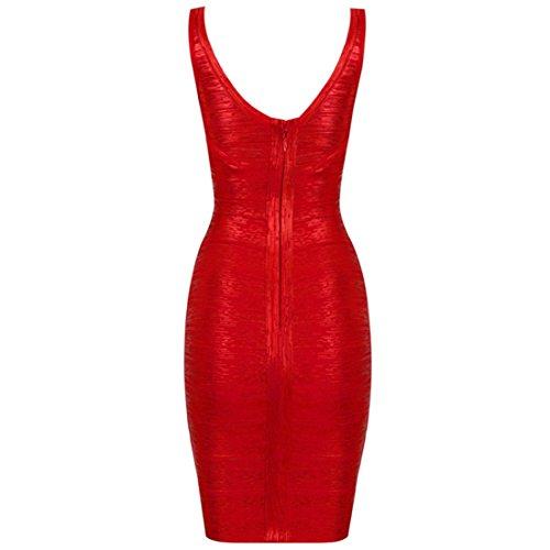 Whoin Shop Mujer Sexy V Recorte Vendajes Bodycon Foil Vestido
