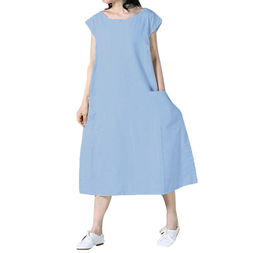 ZOMUSAR Fashion Women's Sexy Summer Casual Solid Short Sleeve O-Neck Easy Beach Dress for Ladies Blue