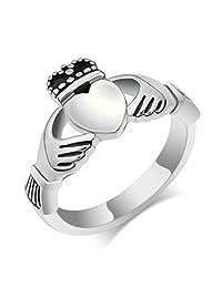 Epinki Stainless Steel Ring, Irish Ladies Claddagh Heart Ring Wedding Bands