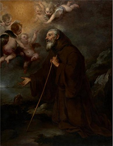 [Oil Painting 'The Vision Of Saint Francis Of Paola,1670 By Bartolome Esteban Murillo' 12 x 15 inch / 30 x 39 cm , on High Definition HD canvas prints, gifts for Basement, Game Room And Nursery] (Football Yard Marker Costume)