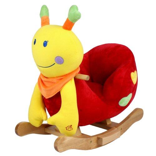 STODOMED Schaukelpferd Schaukeltier Schaukelspielzeug mit Rückenlehne Wippe aus weichem Plüsch Baby Stuhl mit Musik verschiedene Modelle Pony Schaf Schnecke Marienkäfer (Schnecke bunt)