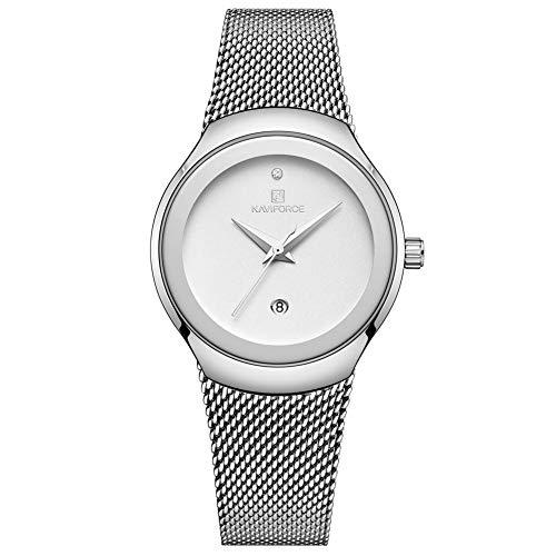 Elegance Luxury Diamond Waterproof Lady Dress Watch Stainless Steel Mesh Wrist Watches ()