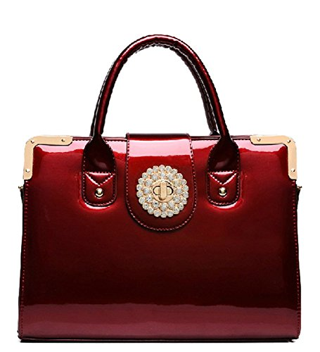 Bg174; Women Luxury Glitter Rhinestone Accents Red Pu Leather Satchel With Shoulder Strap Party Purse Tt462-one Sizered