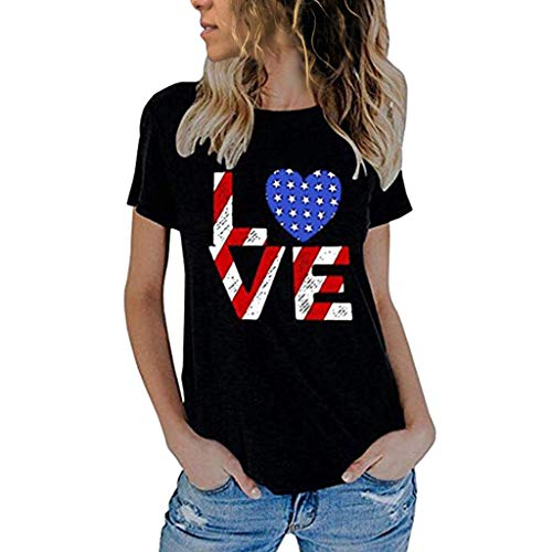 Dressin Independence Day Print T-Shirt Women's Cute Cat US Flag Print Let Me Out Letter Print Funny Tops Tees