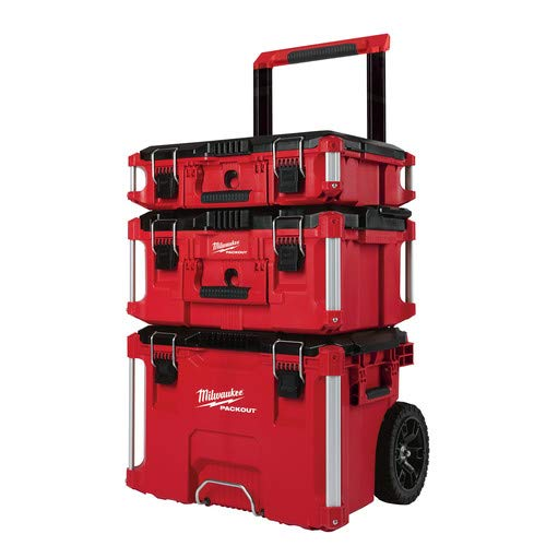 (Milwaukee 22 in. Packout Rolling Modular Tool Box Stackable Storage System, Designed for Harsh Jobsite Conditions, Weather Sealed, 250 Lbs. Capacity with Metal Reinforced Corners and Locking Points)