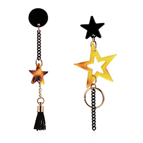 Hibye Women Acrylic Long Dangle Drop Earrings, Star Tassel Earrings Jewelry Gift Deco