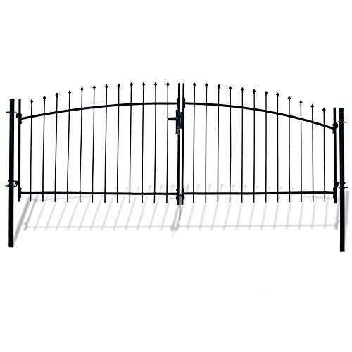 ALEKO DWGD11X5 DIY Arched Steel Dual Swing Driveway Gate Kit with Lock Athens Style 11 x 5 Feet ()