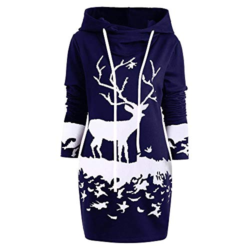 POQOQ Dress Sweather Women Christmas Reindeer Printed Loose Hooded Drawstring M Navy