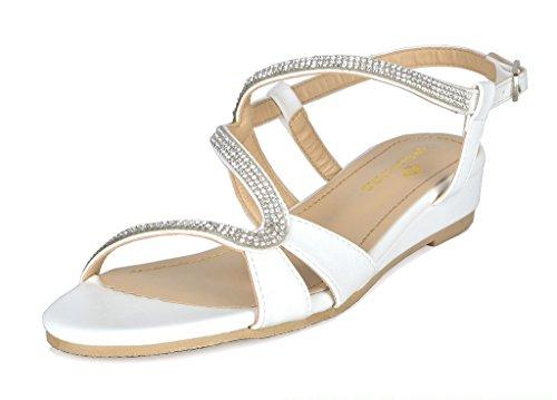 DREAM PAIRS Women's Formosa_1 White Pu Low Platform Wedges Slingback Sandals Size 10 B(M) US