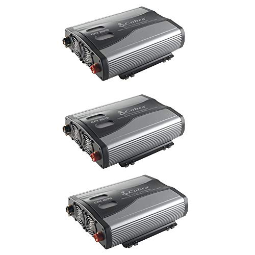 Cobra 1500W 12V DC to 120V AC Car Power Inverter, 3 Outlets and USB (3 Pack)