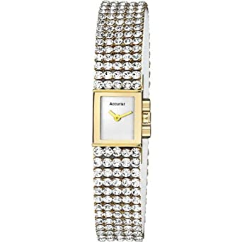 Accurist Watches Damen Swarovski & Gold Tonne Armband Uhr Lb1503 Leder
