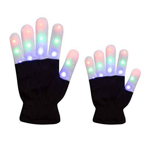 Amazer 2 Pack Adult and Kids Light Gloves Children Finger Light Flashing LED Warm Gloves with Lights for Birthday Party Christmas Xmas Dance Gifts for More Fun- Black