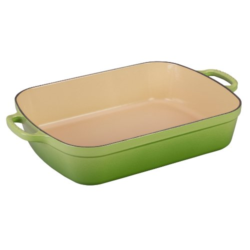 Le Creuset Signature Cast Iron Rectangular Roaster, 5.25-Quart, Palm