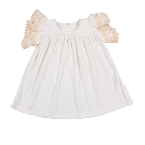 Yawoo Haan Baby Girls Cotton Boutique Dresses Toddler Lace Pearl Dress White 2T ()