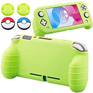 YoRHa Handle Grip Soft Silicone Rubber Protective Cover Case (Apple Green) x 1 and Thumbsticks x 4 for Nintendo Switch Lite - 9.2019 Slim Model
