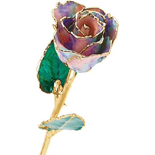 Roxx Fine Jewelry 24K Gold Trimmed Opal Pastel Tie Dye Real Long Stemmed Rose 12