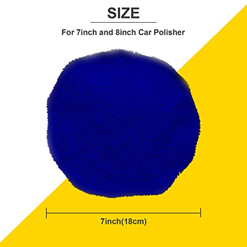 TecUnite 8 Pack Polishing Bonnet Buffing Pad Cover Soft Microfiber Car Polisher Pad Bonnet for Car Polisher (Dark Blue, 7 to 8 Inches) by TecUnite (Image #2)'