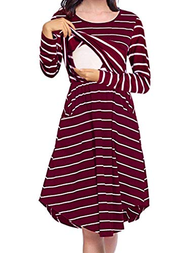 Larenba Maternity Dress Long Sleeve, Womens Fashion Striped Post Baby Cotton Blend Plus Clothing Simple Swing Hew Breathable Baby Shower Dresses with Pocket(Red,Large)