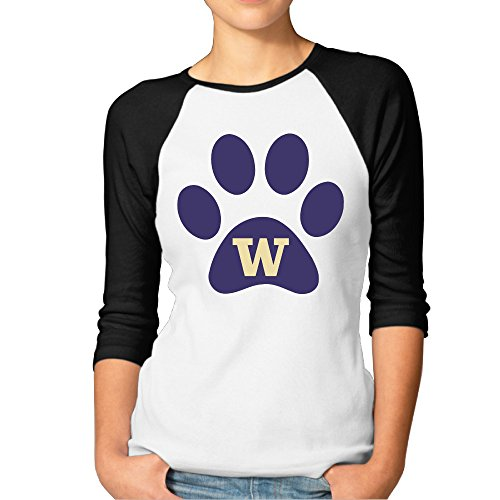 [BMW47' Women's University Of Washington 3/4 Sleeve Baseball Jersey Shirts - Large] (Nerd Costume Offensive)