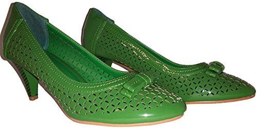 3-W-Hohenlimburg Pfiffige Stiletto Pumps High Heels. Orange oder Grün. mit Schleife. Damenschuhe, Schuh für Damen. Topaktueller Trendschuh, PHH103. Grün