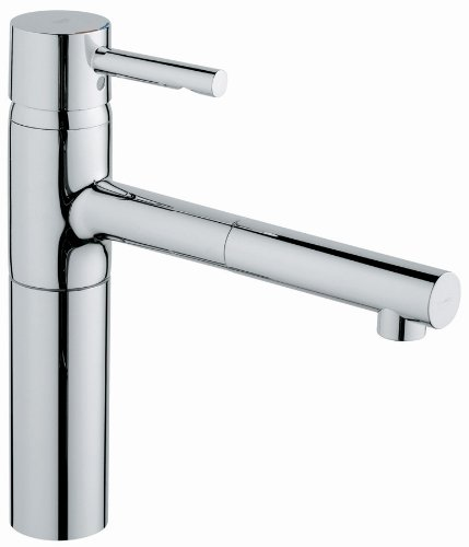 Grohe 32 170 00E Essence WaterCare Single Spray Pull-Out Kitchen Faucet, Starlight Chrome