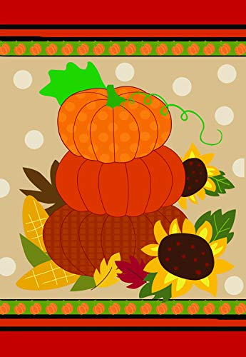 Lantern Hill Fall Pumpkin Stack with Sunflowers Polka Dot Garden Flag; Double Sided; 12.5 x 18 inches; Autumn Harvest Seasonal Decorative Banner ()