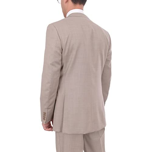 Mens Napoli Extra Slim Fit Solid Beige Flat Front Marzotto Wool Dress Pants