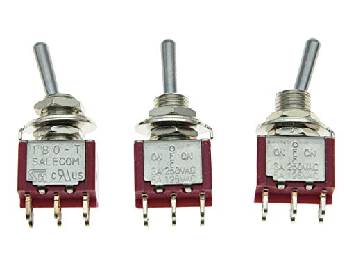 Dpdt Mini Switch - SALECOM 3x DPDT 3 Position ON OFF ON Guitar Mini Toggle Switch Car/Boat Switches